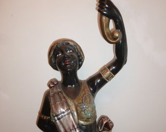 Large antique Venetian style wood carving sculpture Nubian Blackamoore lady flare holder Italy circa 1880