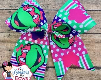 Teenage Mutant Ninja Turtle cheer bow, Teenage mutant ninja turtle hair bow, teenage mutant ninja turtle hair clip