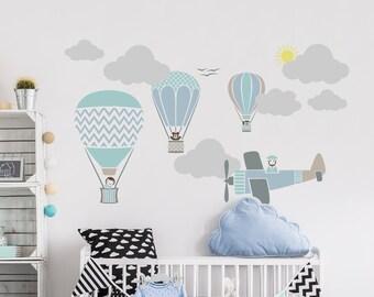 Hot Air Balloons & Plane Sky Boys Bedroom Stencil Set - HO005