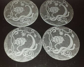 Lotus Etched Slate Coasters