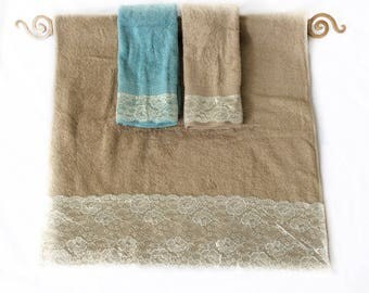 Tan Decorative Towels set Wedding Gift idea Sand Guest Bath decor, Apartment Gift idea, Fancy Lace towel set of 3 Housewarming Gift under 50