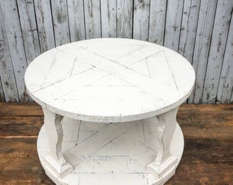 Farmhouse Style Round Coffee Table