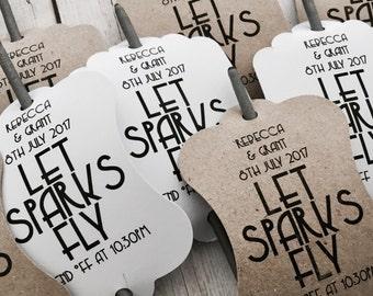 Let Sparks Fly Tag - Wedding Favor Tag, Wedding Sparkler Tags for your Sparkler Exit, Sparkler Send Off Reception Idea - Sparkler Sleeve
