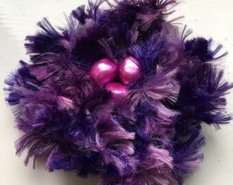 Crocheted Brooch Purple Corsage