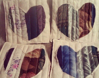 Heart Quilted Coasters
