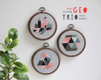 Set of three modern geometric cross stitch pattern PDF downloads - three easy geometric patterns to download instantly