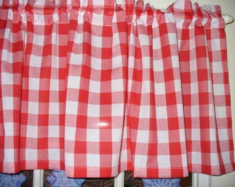 Red White Checked bufflo Checks retro diner fabric kitchen curtain Valance