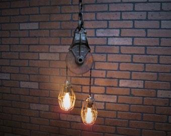 vintage industrial pulley pendant drop light
