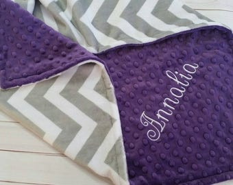 Gray Chevron Baby Blanket, Personalized Baby Blanket, Minky Baby Blanket, Girl Minky Blanket, Girl Baby Blanket
