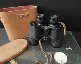 Field Binoculars & Leather Case - FREE SHIP - Oxford Glasses - Vintage Field Glasses - Rustic Lake Home Cabin Sporting Man Cave Decor