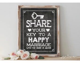 Instant 'Share your KEY to a happy marriage with the bride & groom' Printable Wedding Sign Advice Sign Rustic Chalkboard Sign