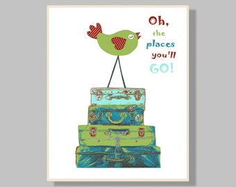 B3,Oh, the places you'll go, dr Seuss, kids wall art,baby room decor, nursery art print, travel art,bird