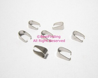 Stainless steel pinch bails 10x5mm Necklace pendant holder enhancers