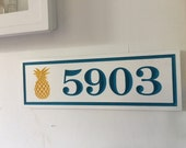 Custom address signs,V-Carved sign with pineapple.horizontal address signs,House number sign,beach plaque,cabin sign,personalized name plaqu