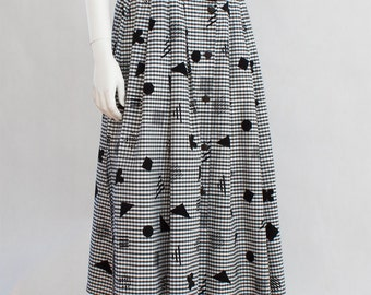 Black and White Checkered Pattern Button Up Vintage Skirt, Velvet Patches