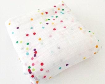 ORGANIC Muslin Cotton Swaddle Blanket - Sea Sparkle Confetti by Ocean & Friends