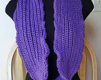 Cotton Blend Purple Infinity Scarf