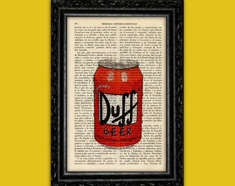The Simpsons Duff Beer Print Book Art Old Book Page Art Beer Canned Art Decor Birthday Gift for dad Bar Wall Decor Prints Beer (Lata Nº21)