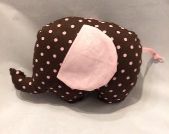 Brown and pink polka dot stuffed elephant/nursery decor