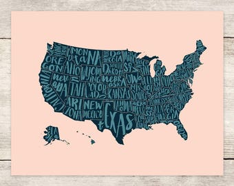 PRINT (4 Colors): USA Map with Lettered States, 8.5x11 map prints