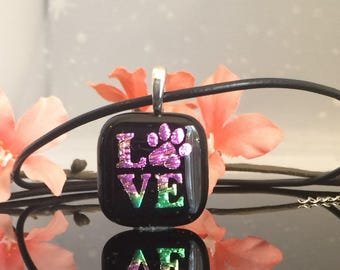 """Handmade Love """"Paw"""" Fused Glass Etched Pendant"""