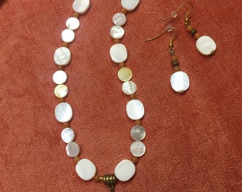 Mother of Pearl coins with Cross pendant