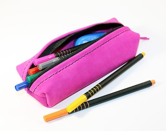 Leather Pencil Case! Handmade Case! Leather Pencil Pouch. Pink Pencil Case! FREE SHIPPING WORLDWIDE!