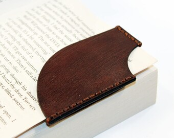 Leather bookmark, Brown bookmark, Bookmark Corner, Gifts for Booklover, Gifts for bookworms.