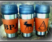 Six custom engraved travel mugs, coffee mugs with leather band vegan leather