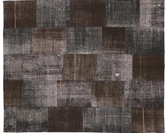 "Minimalist Vintage Turkish Kilim Patchwork Rug with Modern Industrial Style, Brown Black Gray Flat-weave Kilim Rug, 8'4"" x 10'1"""