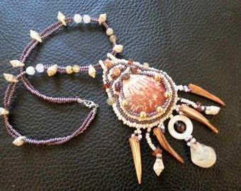 necklace with pearls, shell, stones