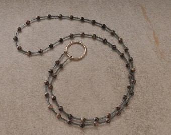 Grey Beaded ID Badge Lanyard Beaded Necklace Eyeglass Holder