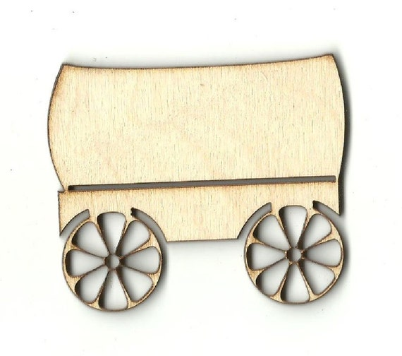 Covered Wagon Laser Cut Out Unfinished Wood Shape Craft