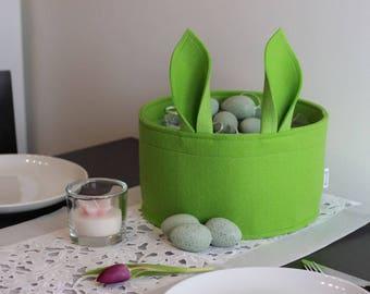 Felt Easter basket for Easter eggs in refreshing colors