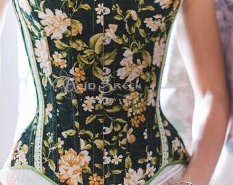 Corset, corsetry, overbust corset, Floral, cotton
