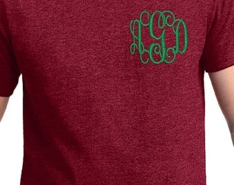 SALE--Monogrammed Short Sleeve Shirt with Left Chest Monogram--Unisex fit Small-5x tee shirt--Womens Embroidered Monogram personalized