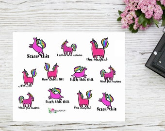 Planner stickers sassy unicorn stickers, pink unicorn and sassy quotes