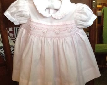 Baby Pink Smocked Dress with Hearts