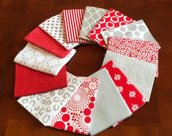 Red, white, and grey fat quarter bundle