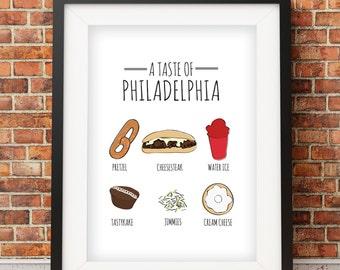 A Taste of Philadelphia Print, Home of the Cheesesteak, Water Ice, Jimmies    Home Decor Print