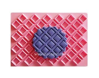 Diamond Impression Fondant, Rhombus Stamp, Rhombus Embosser, Basket Stamp, Basketweave Stamp, Basketweave Embosser, Brick Stamp, Wall Cutter