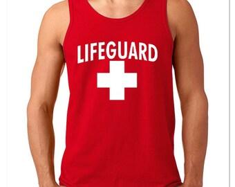 Lifeguard Man TANK TOP WHITE Logo Beach Tee Tank Top California Beaches S.O.S. Life Guard Sos