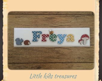 """Childrens personalised wooden name plaque signs - up to 8 letters 12x3"""". Little kids treasures"""