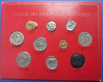 Interesting Set Of 10 Antique Coins. Produced In A Series In France in 1969.