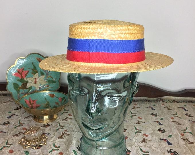 Vintage Estate Straw Boater Summer Skimmer Sailor Election Campaign Stetson Sennett Hat Made in Italy Red Blue Ribbon Trim 57cm