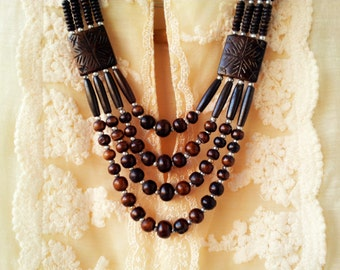 Brown Necklace/Statement Necklace/Bohemian Necklace/Brown Boho Necklace/Tribal Necklace/Multilayered Necklace