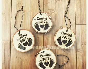 Ornament Hanging Wood Burned Birch Custom Announcement Pregnancy Engagement Annual Quote Literature Christmas Love Valentine Easter