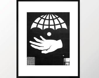 New York City Photography Print NYC Black and White B&W NY Art Urban Monochrome Williamsburg Brooklyn Abstract Hand