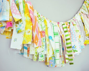 4 Foot Vintage Sheet Rag Garland Banner. Party. Vintage Wedding Bunting. Photo Backdrop Prop. Floral. Easter. Baby Shower. Nursery.