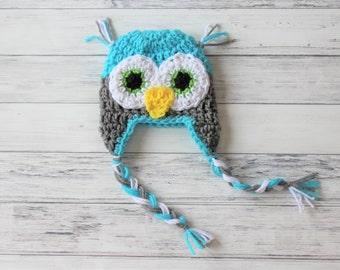 Crochet Baby Hat, Baby Owl Hat, Crochet Owl Hat, Boy Owl Hat, Knit Baby Hat, Toddler Owl Hat, Adult Owl Hat, Baby Photo Prop, Infant Owl Hat
